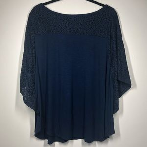 Style & Co Navy Blue Lace Inset Batwing Top